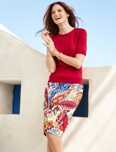 Pencil Skirt - Paisley Swirls - Talbots