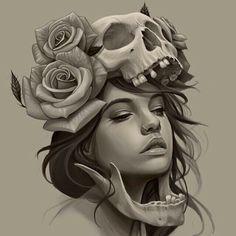 Girl, skull, roses tattoo sketch