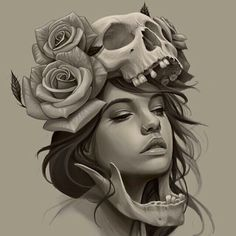 Girl, skull, roses tattoo sketch