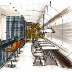 Perspectiva de interiores- restaurante