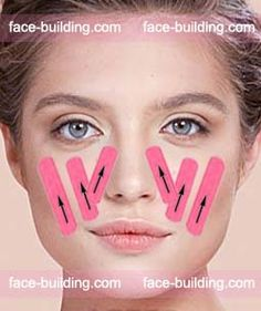 How to stick the tape on the face. Technique and schemes t . Massage Tips, Spa Massage, Massage Therapy, Beauty Skin, Health And Beauty, Face Lift Tape, Face Care, Skin Care, Facial Anatomy
