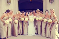 Beautiful champagne bridesmaid dresses. I wish I would have picked this for my wedding.
