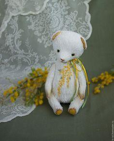 Купить Солнечный Лучик - белый, желтый, зеленый, мимоза, мишка тедди, коллекционные игрушки