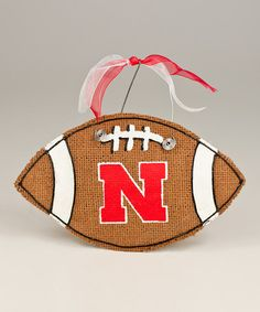 Take a look at this Nebraska Small Football Burlap Wall Hanging by Glory Haus on #zulily today!