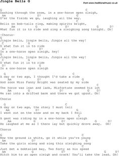 Christmas Songs and Carols, lyrics with chords for guitar banjo for Jingle Bells G