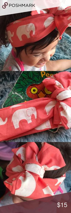 Elephant Print Organic Handmade Baby Wrap Turban 100% organic cotton fits baby it's a 12 months when tied. Handmade with ❤️ dream big design Accessories Hair Accessories