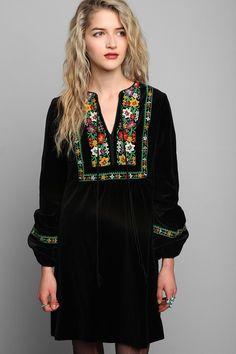 Vintage '70s Velvet Embroidered Boho Dress