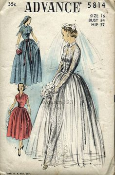 Vintage 1951 Grace Kelly Belted Wedding Gown Button Front Bodice Full Skirt...Long or Cap Sleeves...Advance 5815 Bust 34 UNCUT.