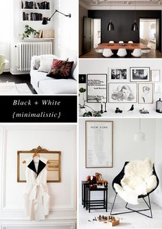 black + white minimalistic board by Rachel @Hopscotch & Grace - Eames, fur, gallery wall, art, prints, gold mirror, black walls, white living room, dining room