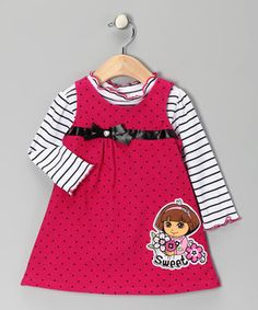 Any mini Dora fan will be able to explore in style thanks to this sweet set. Back buttons on the corduroy jumper make it easy for this lovely little ensemble to say hola to looking pretty.