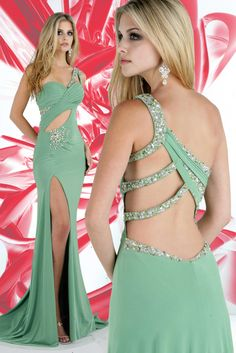 One Shoulder Split Front Sexy Green Dress