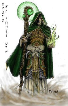 Druid by Nasuradin staff magic armor clothes clothing fashion player character npc | Create your own roleplaying game material w/ RPG Bard: www.rpgbard.com | Writing inspiration for Dungeons and Dragons DND D&D Pathfinder PFRPG Warhammer 40k Star Wars Shadowrun Call of Cthulhu Lord of the Rings LoTR + d20 fantasy science fiction scifi horror design | Not Trusty Sword art: click artwork for source