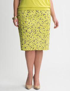 3bcf2004ff8 Daisy Sateen Pencil Skirt - Lane Bryant Casual Chic Summer