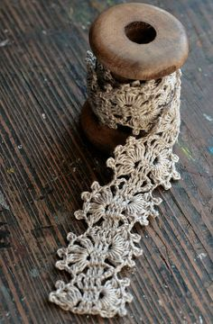 Hand Crocheted Linen Edging Lace Trim natural linen by namolio