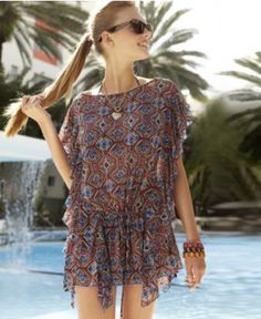Jessica Simpson Cover Up, Flutter Sleeve Exotic Print Ruffled - Womens Swim - Macy's