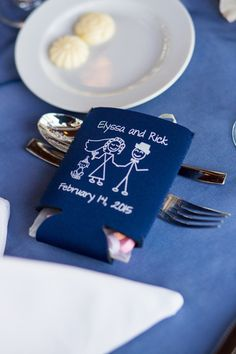 Wedding favor idea - custom navy blue + white koozies filled with candy {Elizabeth Star Photography}