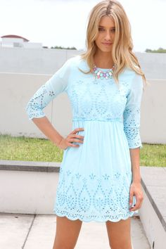 Sky Blue Embroidered Dress.