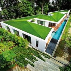 32 Ideas container house design ideas green roofs for Pool Ideas : Architecture Beautiful Modern Tropical Asian . Container Home Designs, Singapore House, Design Light, Screen House, House Roof, Internal Courtyard, Living Roofs, Roof Architecture, Modern Tropical