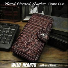 iPhone各種対応の本革手帳型ケースです。 Genuine Leather Folder Protective Case Cover For iPhone Dark Brown WILD HEARTS Leather&Silver(ID ip2964r33) Iphone Flip Case, Iphone Cases, Iphone Leather Case, Hand Carved, Carving, Wallet, Silver, Handmade, Hand Made