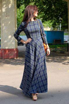 Купить Платье длинное теплое синяя клетка - платье, платье в пол, Синее платье