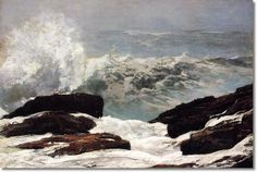 """""""Maine Coast""""by Winslow Homer. oil on canvas. In the collection of The Metropolitan Museum of art, NYC. Gift of George A. Hearn, in memory of Arthur Hoppock Hearn. Canvas Art, Canvas Prints, Art Prints, Winslow Homer Paintings, Stormy Sea, Thing 1, Am Meer, Metropolitan Museum, American Artists"""