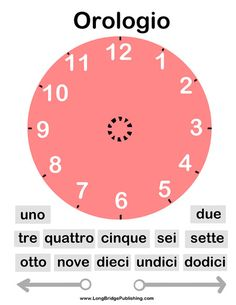 Free printable: Telling Time in Italian, Clock Activity Page