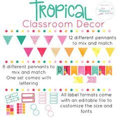 Tropical Classroom Decor | Fully Editable