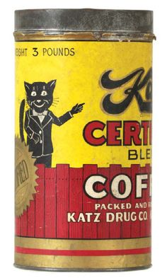 Vintage tin coffee can for Katz brand coffee (Katz Drug Co., Kansas City, Mo.)