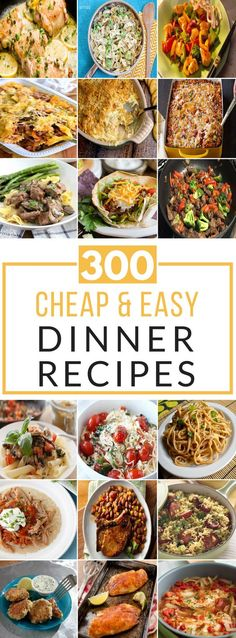 This is the ULTIMATE resource for delicious, cheap & easy dinner recipes that anyone can make. Most of these recipes require less than ten ingredients and take under 20 minutes to prepare. There are hundreds of dinner recipes for casseroles, chicken, beef Easy Cheap Dinner Recipes, Cheap Easy Meals, Inexpensive Meals, Cheap Dinners, Frugal Meals, Budget Meals, Cheap Recipes, Cheap Food, Budget Recipes