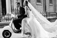 Italian bride on a scooter