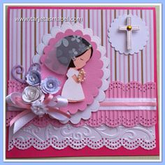 Tarjeta para Primera Comunión First Communion Cards, First Communion Invitations, First Holy Communion, Shower Invitations, 123 Cards, Deck Of Cards, Baby Cards, Scrapbook Albums, Scrapbooking