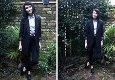 Amelia Goldie - American Apparel Collared Grid Shirt, Sheinside Black Coat, Topshop Black Skinny Joni Jeans, Unsure Black Pointed Brogues - Casual // Smart