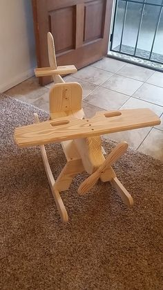 Childrens Wooden Airplane Rocking Chair Rocker G&G Rockers build custom handmade wooden Airplane Rocking Chairs. No piece of any rocker is cut, sa Woodworking Desk, Easy Woodworking Projects, Diy Wood Projects, Wood Crafts, Woodworking Techniques, Woodworking Videos, Woodworking Patterns, Popular Woodworking, Youtube Woodworking