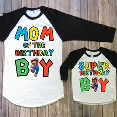 ALSO AVAILABLE IN RED SLEEVES IF YOUD LIKE RED PLEASE PUT RED SLEEVES ON NOTE TO SELLER! Mommy and me birthday shirts, Mario birthday shirt, Super mario party, matching family, mario family shirt, mario birthday party Welcome to JADEandPAIIGE! Below is a list of sizing and washing