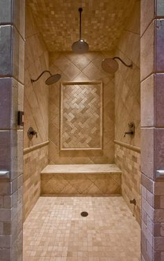 House Plan bathroom with a big shower! House Plan bathroom with a big shower! Big Shower, Dream Shower, Master Shower, Modern Shower, Master Bathroom, Double Shower, Large Shower, Shower Time, Dream Bathrooms