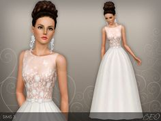 Wedding dress presented in 1 variant. Recolorable 3 canals. Found in TSR…