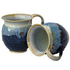"Set of 2 Irish Handmade Coffee & Tea Mugs This Coffee Mug Set is part of the Hampton Blue Range made by Castle Arch pottery in Kilkenny. Each mug measures 3"" in diameter with a height of 4"". The mugs are high-temperature glaze finished which gives it a deep shine and robust... see more details at https://bestselleroutlets.com/home-kitchen/kitchen-dining/dining-entertaining/cups-mugs-saucers/mug-sets/product-review-for-handmade-irish-coffee-tea-mugs-set-of-two-bl"