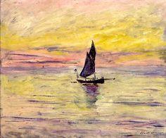 """""""The Sailing Boat, Evening Effect"""" -- 1885 -- Claude Monet -- French -- Oil on canvas -- Musée Marmottan Monet, Paris."""