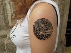 Starry Night monochrome reproduction - Little Tattoos - Photo Upper Arm Tattoos, Cool Arm Tattoos, Cool Tats, Cute Small Tattoos, Little Tattoos, Henna Tattoos, Tatoos, Small Tattoo Designs, Tattoo Designs For Women