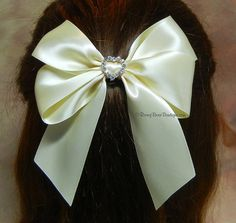 "Many Colors!  4.5"" Satin Hair Bow w/ Rhinestone Charm and Medium Tails - Choose Charm Shape & Ribbon Color"