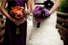I like the bridesmaid with orange and bride with purple with purple dress!