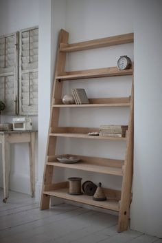 Large Raw Oak Shelf Ladder love this idea for the new place. Something very soothing about it. I can see this look in the new apartment. I like how simple it is.