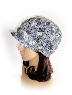 Crochet Newsboy Hat. Gray Shades (Dove) or 43 colors. Silver Metal Buttons. Beanie with Visor. Women's Hat. Warm Winter Accessory. by VividBear on Etsy