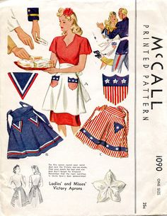 RARE Victory Apron Pattern McCALL 1090 World War II War Time 1943 Patriotic Aprons Vintage Sewing Pattern-Authentic vintage sewing patterns: This is a fabulous original dress making pattern, not a copy. Because the sewing patterns are vintage and pre Vintage Apron Pattern, Aprons Vintage, Vintage Sewing Patterns, Apron Patterns, Mccalls Patterns, 1940s Fashion, Vintage Fashion, Retro Mode, Sewing Aprons
