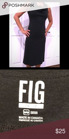 Fig dress EUC Langgur dress in Black by Canadian brand Fig! This is a sophisticated athleisure dress that hits below the knee.  A soft draped neckline makes it a comfortable yet classy go to for any occasion! The fabric is soft and breathable. UPF 50 Antibacterial 64% viscose from bamboo / 28% cotton / 8% spandex per manufacturer's listing online. Worn less than 5 times so there's no signs of wear! Runs true to size. Fig Dresses