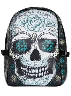 """Sketchy Skull"" Backpack by Jawbreaker (Black)#inked #inkedmag #Inkedgirls #sketchyskull #backpack #sugarskull #socute"