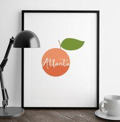 Atlanta wall art Atlanta print Atlanta poster Georgia | Etsy Atlanta Map, Atlanta Georgia, Peach Decor, Modern Throw Pillows, Frame Shop, Fine Art Paper, Custom Framing, Framed Prints