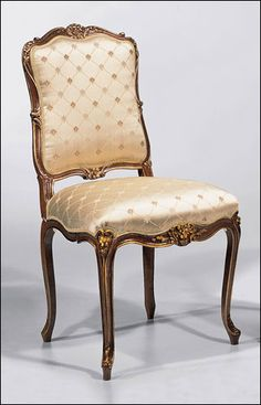 Louis XV style carved beechwood side chair in antiqued satinwood finish