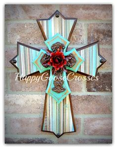 Wall Cross - Wood Cross - X-Small - Brown & Turquoise Rustic Stripes, Antiqued Turquoise, Iron Cross with Red Iron Rose Painted Wooden Crosses, Painting Wooden Letters, Wood Crosses, Cross Wall Decor, Crosses Decor, Turquoise Walls, Rustic Cross, Cross Paintings, Iron Wall