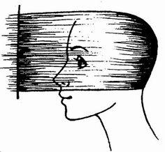 схема стрижки волос затылочной зоны при стрижке «Каскад» на длинные волосы